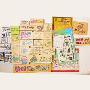 Huge Lot of 30+ Special Occasion Rubber Stamps